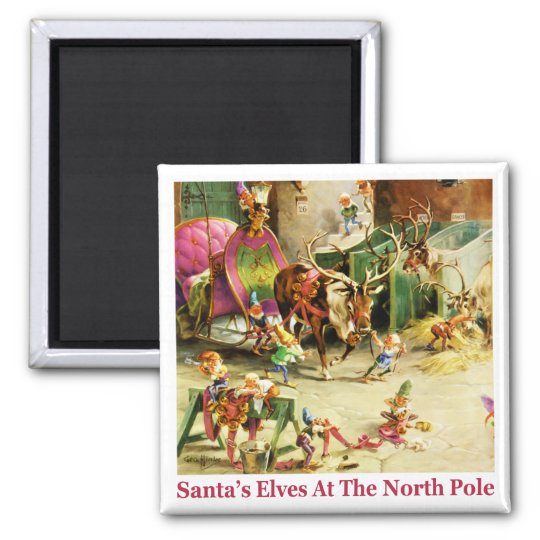 Santa's Elves at the North Pole Stables Magnet