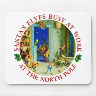 Santa's Elves At Work in His North Pole Workshop Mouse Pad