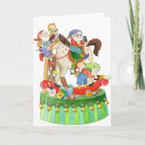 Santa's Elves Building Rocking Horse Card