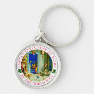 Santa's Elves Busy At His North Pole Workshop Keychain