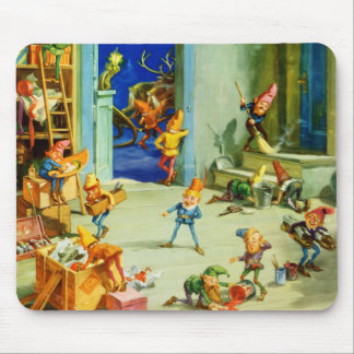 Santa's Elves Busy at His North Pole Workshop Mouse Pad