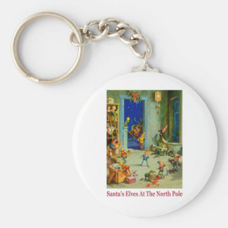 Santa's Elves Busy at the North Pole Keychain