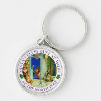 Santa's Elves Busy in His North Pole Workshop Keychain