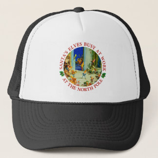 Santa's Elves Busy in his North Pole Workshop Trucker Hat
