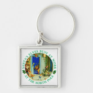 Santa's Elves Busy Working at his Workshop. Keychain