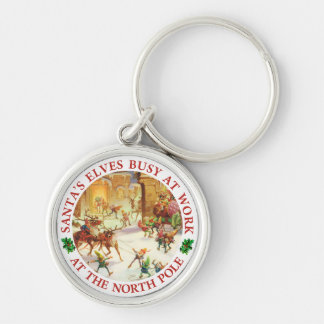 Santa's Elves Herd Reindeer at the North Pole Keychain