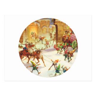 Santa's Elves Hurry to Ready his Sleigh Postcard