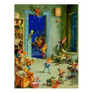 Santa's  Elves in his Workshop on Christmas Eve Postcard