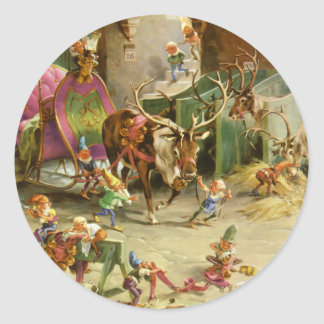 Santa's Elves Ready His Sleigh and Reindeer Classic Round Sticker