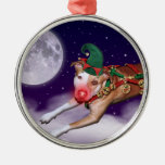 Santa's Employee of the Month Round Metal Christmas Ornament