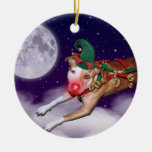 Santa's Employee of the Month Double-Sided Ceramic Round Christmas Ornament