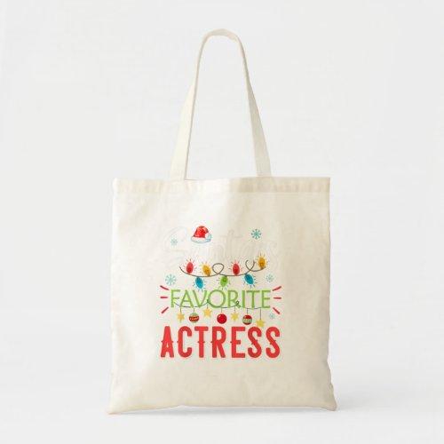 Santas Favorite Actress Xmas Light Santa Hat Tote Bag