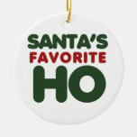 Santas Favorite HO Double-Sided Ceramic Round Christmas Ornament