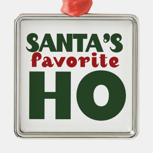 Santas Favorite HO Square Metal Christmas Ornament