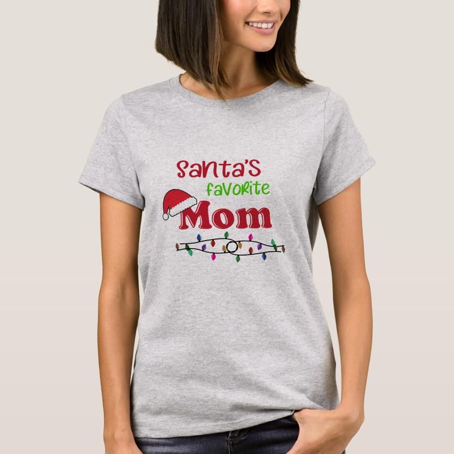 Santa's Favorite Mom Christmas T-Shirt - Best Selling Long-Sleeve Street Fashion Shirt Designs