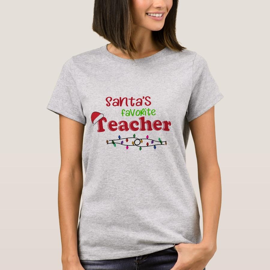 Santa's Favorite Teacher Christmas T-Shirt - Best Selling Long-Sleeve Street Fashion Shirt Designs