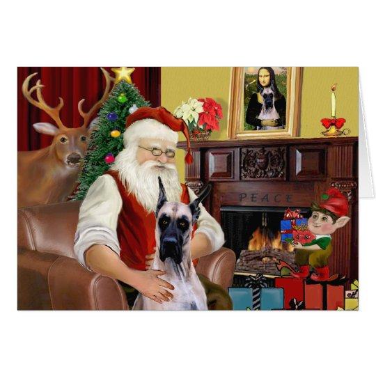 Santa's Fawn Great Dane Card
