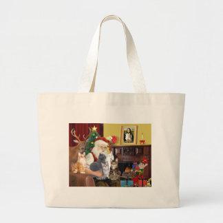 Santa's Five Cats Tote Bags