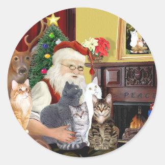 Santa's Five Cats Classic Round Sticker
