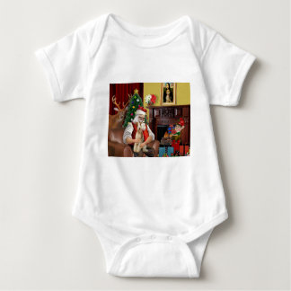 Santa's Fox Terrier (wire) Baby Bodysuit