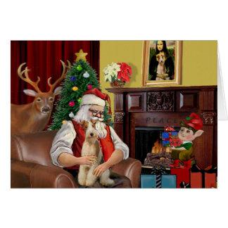 Santa's Fox Terrier (wire) Card
