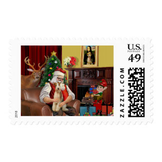 Santa's Fox Terrier (wire) Postage