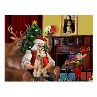 Santa's Fox Terrier (wire) Postcard