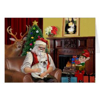 Santa's French Bulldog (fawn) Card
