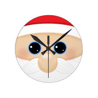 Santa's Funny Closeup Round Wallclock