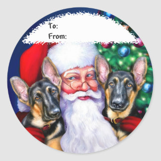 Santa's German Sheperd Dogs Gift Tags Classic Round Sticker