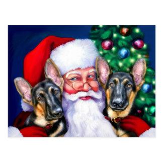 Santa's German Sheperd Dogs Postcard