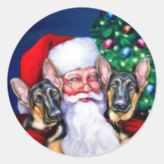 Santa's German Sheperd Dogs Round Sticker