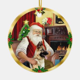 Santa's German Shepherd #13 Ceramic Ornament
