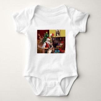 Santa's German Shepherd Baby Bodysuit