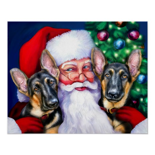 Santas German Shepherd Dogs B&T Poster