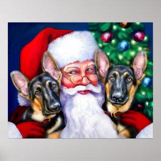 Santas German Shepherd Dogs B&T Print