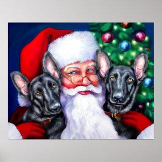Santas German Shepherd Dogs BLK Poster