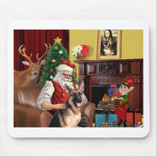 Santa's German Shepherd Mouse Pad