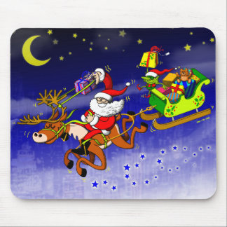 Santa's Gift Delivery with a Slingshot! Mouse Pad