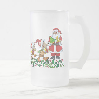 Santas Gift Frosted Glass Beer Mug