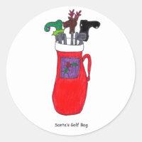 Santa's Golf Bag Classic Round Sticker