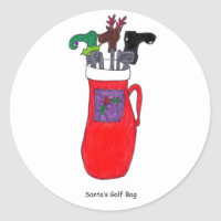 Santa's Golf Bag Classic Round Sticker