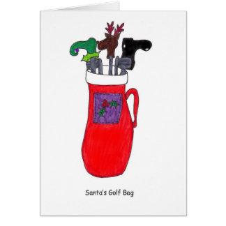 Santa's Golf Bag Humorous Christmas Card