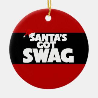 Santa's got SWAG Double-Sided Ceramic Round Christmas Ornament