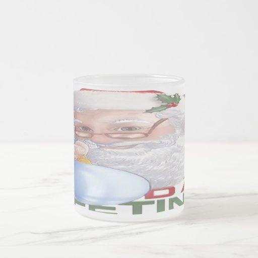 Santa's Greetings - Frosted Glass Mug