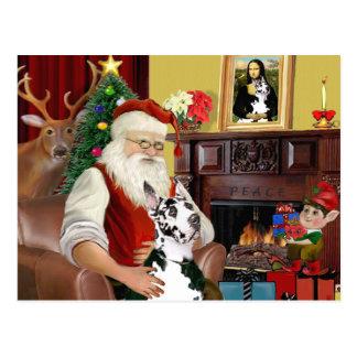 Santa's Harlequin Great Dane Postcard