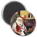 Santa's Harlequin Great Dane Refrigerator Magnet