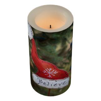 "Santa's Hat Believe 3"" x 6"" LED Candle"
