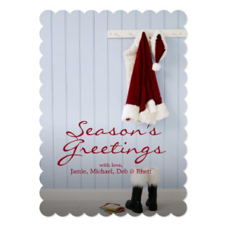 Santa's hat, boots and mail at home card