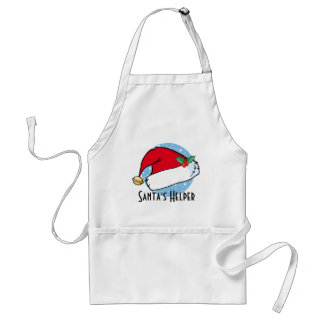 Santa's Hat with Bell and Holly Adult Apron